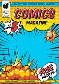 Comic Magazine Cover Template With Rays Explosive And Halftone Humor Effects Vector Illustration poster