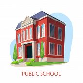 Outdoor View At Public School, Exterior Panorama Of Elementary Education Building, Isometric Panoram poster