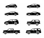 Set Of Personal Cars. Set Of Automobiles In Flat Style. Sedan, Sport Coupe Car, Hatchback, Offroad S poster