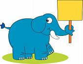 Blue Elephant With Placard