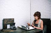 Work For Seniors. Old Woman Work In Writer Office. Senior Woman Type On Retro Typewriter. Journalist poster