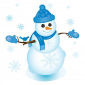 Illustration of snowman in blue with bluejay sitting on his arm; perfect for any winter or Christmas
