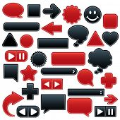 Collection of smooth, outlined web buttons and icons in luscious red and velvety black. Add your own