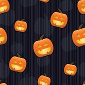 Smiling jack-o-lanterns with glowing faces arranged on a seamless striped tile; gradients used.