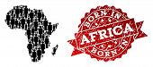 People Crowd Combination Of Black Population Map Of Africa And Scratched Seal. Vector Red Seal With  poster
