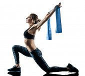 one caucasian woman exercising pilates fitness elastic resistant band exercises isolated silhouette  poster