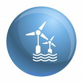 Wind Wave Turbine Icon. Simple Illustration Of Wind Wave Turbine Vector Icon For Web Design Isolated poster