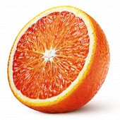 Ripe Half Of Blood Red Orange Citrus Fruit Isolated On White Background With Clipping Path. Full Dep poster