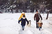 Happy Young Caucasian Family Is Having Fun Running With The Dog In The Winter In A Pine Forest. The  poster