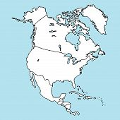 North America. Mainland. Map Of North America. Vector Illustration Outline Map Of North America. Han poster