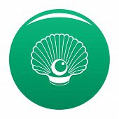Shell With Pearl Icon. Simple Illustration Of Shell With Pearl Vector Icon For Any Design Green poster