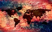 Abstract Vintage Multicolored Texture With A World Map On Top Of It poster