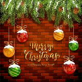 Fir Tree Branches On Brick Wall Background And Christmas Balls With Snow. Golden Lettering Merry Chr poster