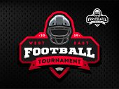American Football Tournament Emblem, Logo On A Dark Background. poster