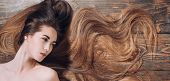 Natural Girl With Long Healthy Hair. Longhair And Hairstyle Concept. Hair Salon Concept. Brunette Gi poster