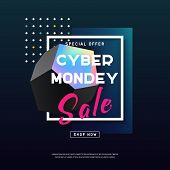 Cyber Monday Media Concept Banner In Modern Neon Style. Abstract Fluid Holography Shape For Web E-ma poster
