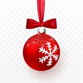 Red Christmas Ball With Red Bow. Xmas Glass Ball On Transparent Background. Holiday Decoration Templ poster