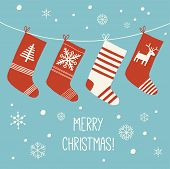 Christmas Socks Background. Various Christmas Socks Hanging On A Rope. Christmas Card. Cartoon Vecto poster