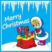 Christmasgreeting cardwith giftsand girl