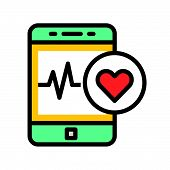 Smartphone With Vital Signs Check Function, Vector Illustration. poster