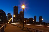 picture of prudential center  - Boston streets by night Massachusetts  - JPG