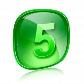 Number Five Icon Green Glass, Isolated On White Background