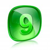 Number Nine Icon Green Glass, Isolated On White Background