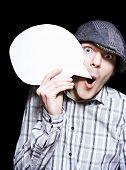 Retro Paperboy Making Speech Bubble Announcement