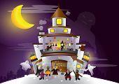 Festival de Halloween. Fantasma e humanos, tendo uma grande festa.