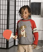 picture of ping pong  - little boy with a ping pong bat - JPG