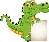 cute crocodile cartoon with blank sign
