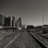 Calgary Cityscape viewed from Train Tracks