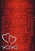 pic of xoxo  - xoxo hearts red love card illustration design - JPG