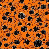 seamless pattern with black pumpkins
