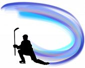 stock photo of hockey arena  - Hockey player silhouette with line background - JPG