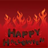 Halloween Card With Flaming Texture And Letters In Devil Style