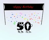 stock photo of 50th  - Illustration for 50th birthday party with cartoon numbers - JPG