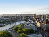 image of zurich  - city view of Zurich at evening time - JPG