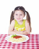 Beautiful Girl With Big Bowl Of Pasta
