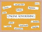 Concepto de palabra Corkboard de campañas online