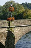 Floral display on Usk Bridge