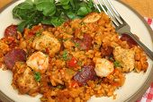 Jambalaya with chicken, shrimp and pepperoni sausage.