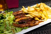 image of roast duck  - Roasted duck with french fries - JPG