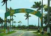 Welcome to Belize sign near airport in Belize City