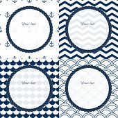 Navy blue and white travel round frames set on chevron, scalloped and anchor patterned backgrounds,