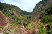 Dangerous Rockfall In Mountains. Vietnam.