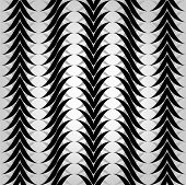 Seamless pattern with black and white waves.