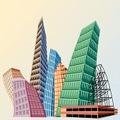 Cityscape Cartoon Skyscrapers