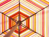 picture of splayed  - Inside and under multi color umbrella splay - JPG