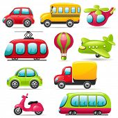 stock photo of motor-bus  - Cartoon transport set - JPG